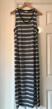 Ladies Whistles Jersey Maxi Dress UK Size 14 Navy Blue & White Stripe