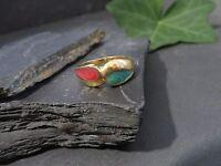 Ausgefallener 925 Silber Ring Bunt Vergoldet Hippie Rot Grün Verschlungen Edel