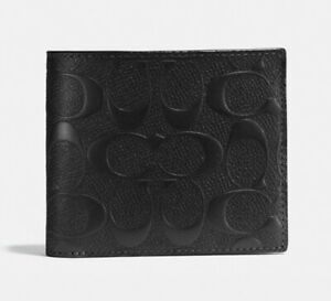 COACH Compact ID Wallet in Signature Crossgrain Leather * 8cc/Removable ID $188
