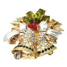 Christmas Bell Brooch Pin W Swarovski Crystals Xmas Gift Clothing Decoration