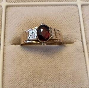 Antiker Gold Ring m. Granat     54   Top anschauen !!!