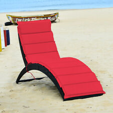 Folding Patio Rattan Lounge Chair Chaise Cushioned Portable for Lawn Garden Red