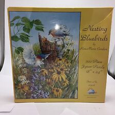Nesting Bluebirds 500 Pc Jigsaw Puzzle By Rose Marie Condon Flowers Floral NEW