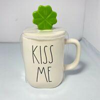 "New RAE DUNN By Magenta St Patricks Day ""KISS ME"" Mug W/ Green Shamrock Topper☘️"