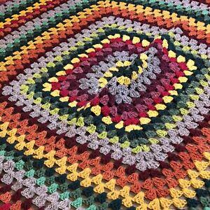 "Vtg Small Heavy Handmade Crocheted Afghan Square Throw Blanket Earth Tones 53"""