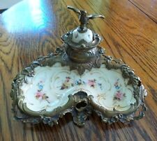 ANTIQUE SEVRES FRENCH BRONZE & PORCELAIN HANDPAINTED INKWELL