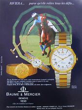 1980'S PUB SWISS WATCH  MONTRE BAUME & MERCIER RIVIERA POLO CHEVAL FRENCH AD