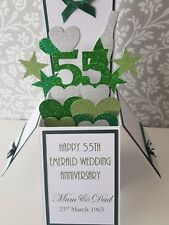 Handmade  Personalised 55th Emerald Wedding Anniversary Pop Up  Car