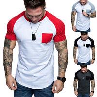 Summer Mens Short Sleeve Plain Pocket Basic Tees Casual Beach T-Shirts Blouses
