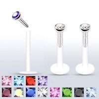 """16G 3/8"""" 2mm Press Fit AB / CZ Bioflex Plastic Push Snap In Stud Lip Labret Ring"""