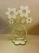 Thank You wood Flower pot with flowers, Teacher, Family, Gift, Craft.
