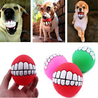Novelty Pet Dog Ball Teeth Silicon Toy Chew Squeaker Squeaky Sound Dogs Play Toy