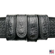 """Perfect Fit Basketweave Duty Belt Keepers 1"""" Plain Leather Hidden Snap 4 Pack"""