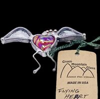 Green Mountain Glass Retired Flying Heart Hanging Ornament 2 3/4""