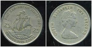 est CARAIBES 25 cents  1987  ( bis )