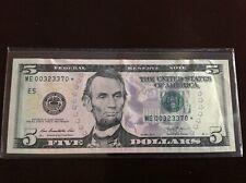 ✯ 2013 $5✯ Five Dollar Bill RARE Star Note Low Serial Number Run  ME00323370