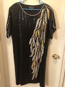 Jean for JOSEPH LE BON Size 3X Full Sequin/Bead Dress Black/Gold/Silver SILK