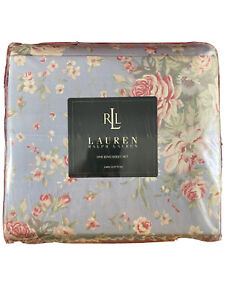 Lauren Ralph Lauren RLL Island Blue Floral King Sheet Set 100% Cotton