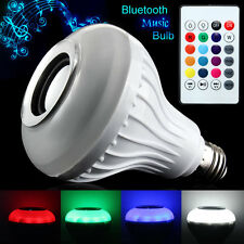 E27 LED RGB Color Bulb Wireless Bluetooth Smart Music Speaker Light Lamp Remote