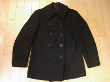 VERY OLD!! vintage WW2 NAVY PEA COAT military JACKET usa ANCHOR BUTTONS medium
