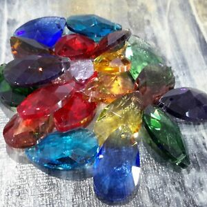 Faceted Teardrop Glass Pendants, 22x13x7mm, 10 pieces, Random Mixed Colour