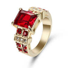 Red Ruby White CZ Wedding Ring Size 7 18K Yellow Gold Filled Jewelry