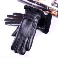 Women's Winter Warm Real Leather Sheepskin Shearling Lining Outdoor Short Gloves