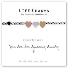 Life Charms Amazing Aunty Silver Plated Bracelet Free Gift Box