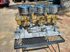 Tri power set up GM Rochester 2 barrel Chevrolet small block 702912 Edelbrock