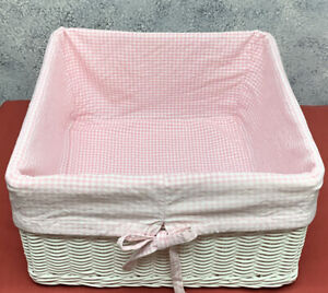 Pottery Barn Kids White Woven Wicker Basket 16x16x9 With Pink Gingham Liner