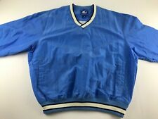 Vintage Starter Men XL Blue Windbreaker Jacket Pullover V Neck Lined USA W2