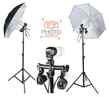 Continuous Umbrella Photo Lighting Studio Kit 900w Photography BLACK WHITE Set