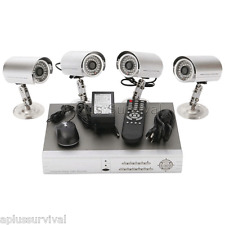 4 Channel Video Surveillance System DVR Cameras Cables Complete Security Kit