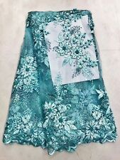 Bridal Wedding Blue Aqua Pearl Heavy Full Embroidered  Flower Net Lace Fabric
