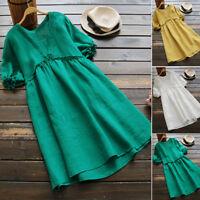 ZANZEA Women's Casual Summer Long Shirt Dress Plain Sundress Knee Length Dress
