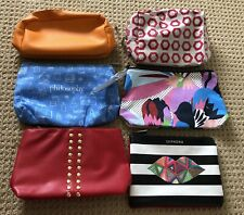 Lot of 6 Cosmetic Make Up Bags- Blue,Red,Orange Etc