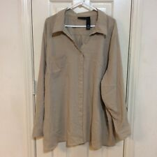 Maggie Barnes Tan Light Colored Textured Tab Long Sleeve Button Top Blouse 4X