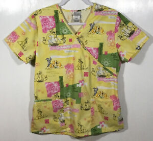 Disney Scrub Top womens size S Small Lady and the Tramp dogs Beautiful Night