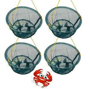 SET OF 4 CRAB DROP NETS WITH BAIT HOLDER & 11M ROPE FISH CRAYFISH LOBSTER PRAWN