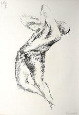 WALDEMAR GRZIMEK - Tanzender männlicher Akt / Epitaph - Lithografie 1965