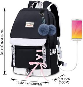 Bevalsa Schulrucksack mit Federmäppchen Schultaschen-Set für Mädchen Teenager...