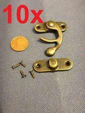 10 sets - latch hook Hinge small mini  Antique wood box Catch Decorative b14
