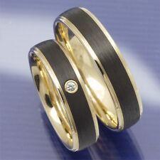 Trauringe | Hochzeitsringe | Eheringe aus 585 Apricotgold und Carbon PB042518