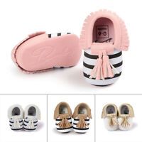 Newborn Baby Tassel Soft Sole Leather Shoes Infant Boy Girl Toddler Size 0-18M