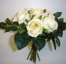 New Tied Bundle/Bouquet x7 Stems Queen Roses Silk Flowers Ivory/Cream 9in