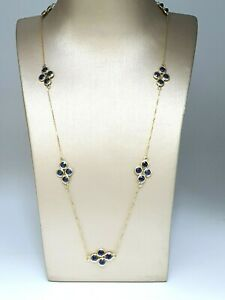 18Carat Gold Blue Sapphire By Yard Necklace 8.00 Carat Rubover Setting 20 inches