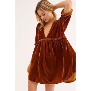 Free People Ivy Velvet Boho Mini Dress Desert Size XS S or L NEW