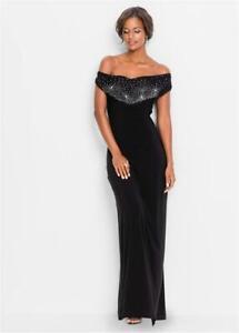 BLACK bardot Stretch LONG MAXI sexy party evening gown Dress UK 10 12 EU 38 40