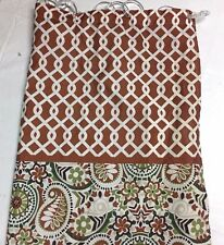 WAVERLY Shower CURTAIN Fabric Standard PAISLEY & Interlocking Lattice Top