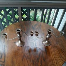 Pair Of Vintage Sterling Candelabra - Candle Holder Stick Duchin Weighted Silver